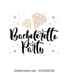 """Lettering """"Bachelorette Party"""" with hand-drawn beautiful  vector illustration"""