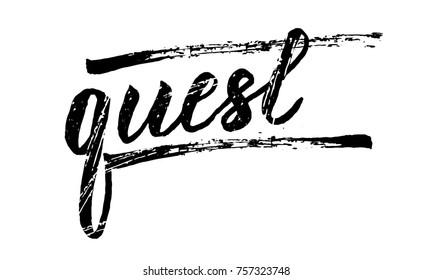 Lettering banner Quest. Vector illustration.