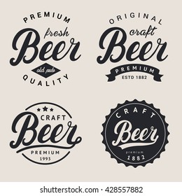 Lettering beer logotype, label or badge for for beer house, bar, pub, brewing company, brewery, tavern, restaurant, beer market. Beer hand lettering design template. Vector illustration.