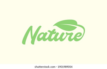 lettering bold nature with leaf green logo symbol icon vector graphic design