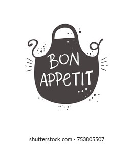 Lettering. Bon appetit. Hand drawn vector illustration. Can be used for badges, labels, logo, bakery, street festival, farmers market, country fair, shop, kitchen classes, cafe, food studio.