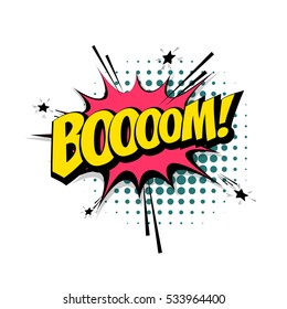 Lettering Boom, bomb. Comic text sound effects. Vector bubble icon speech phrase, cartoon exclusive font label tag expression, sounds illustration. Comics book balloon.