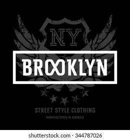 """Lettering """"Brooklyn NY"""" and American Eagle wings. This illustration can be used as a print on T-shirts and other clothes"""