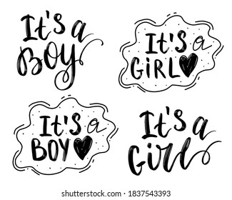 """Lettering for cards, children's albums, children's girls, gender parties for a boy and a girl. """"It`s a boy"""", """"It`s a girl"""""""