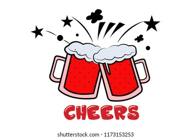 Lettering cheers text. Two foamy beer glass.  Vector illustration. Isolated on white background.