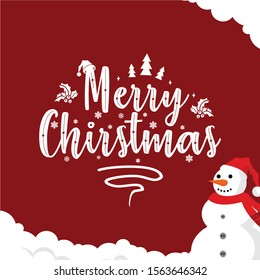 lettering chirstmas greeting card template vector