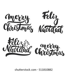 Lettering Christmas and New Year holiday calligraphy phrases photo overlays set isolated on the white background. Fun brush ink typography for illustrations, t-shirt print, poster design.