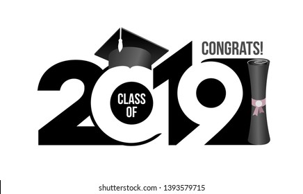 Lettering Class of 2019 for greeting, invitation card. Text for graduation design, congratulation event, T-shirt, party, high school or college graduate. Vector isolated on white background.