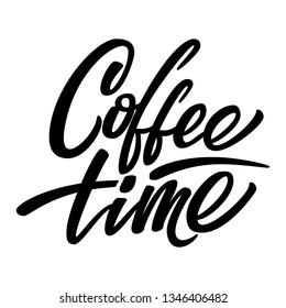 Lettering coffee harmonious composition. Black coffee, coffee bar, coffee time.