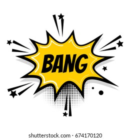 Lettering comic bang boom star. Comics book vintage balloon. Bubble icon speech phrase. Cartoon exclusive font label tag expression. Comic text pop art sound effects. Sounds vector illustration.