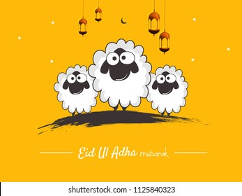 Lettering composition vector typographic illustration of muslim holy month with mosque ,   sheep,lamb & lamp with handwritten Eid Al adha mubarak text for a muslim community festival of sacrifice.