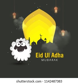 Lettering composition vector typographic illustration of muslim holy month with mosque, sheep or lamb & lamp with Eid Al adha mubarak text for a muslim community festival of sacrifice.
