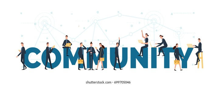 lettering of comunity concept with people are using laptop and smartphones for upload to cloud.