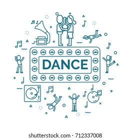 lettering of dance concept with line icons set.