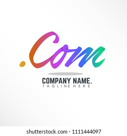 lettering .com domain with colorful text linked logo design