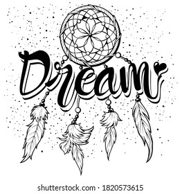 Lettering 'dream' and Boho art tribal feather clipart. Magic symbol Dreamcatcher gemstones and feathers. This illustration is for decoration, sticker, logo, wall decor, pattern and more.