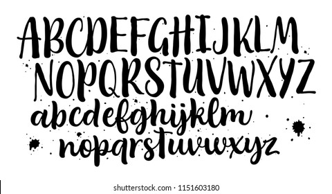 Lettering font isolated on white background. Hand drawn alphabet. Calligraphy typeface for Logo,