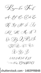 Lettering font isolated on white background. Hand drawn calligraphic vector alphabet. Modern hand lettering font. Modern calligraphy font. Vector logo letters. Romantic letters
