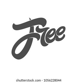 Lettering FREE for design logos, signs, labels and stickers. Vector typography white isolated background. Modern brush calligraphy. Template for phrases gluten, delivery, shipping, sugar, wi-fi.