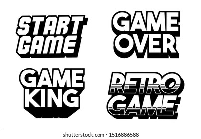 Lettering game design set collection of classic retro game phrases for gamers geek culture elements bundle. Cartoon vector text illustration for print design merch apparel. Classic inscriptions.