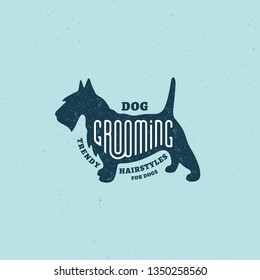 Lettering Grooming on scottish terrier silhouette with stamp effect for logo, label, badge, emblem design. Vector illustration.