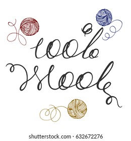 Lettering handwritten 100% wool, woolen thread bundles