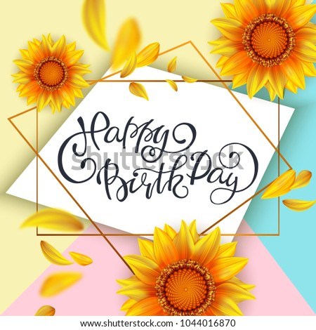Lettering Happy Birthday Card Template Yellow Stock Vector Royalty