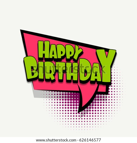 Lettering Happy Birthday Comics Book Halftone Stock Vector Royalty