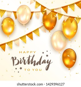 Lettering Happy Birthday To You with holiday balloons, pennants and confetti on white background. The concept of holiday card can be used for congratulation, posters and banners, illustration.
