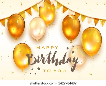 Lettering Happy Birthday To You with stars on white background. Holiday decorations with golden balloons, pennants and confetti. Greeting card can be used for congratulation, posters and banners.