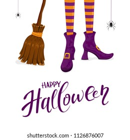 Lettering Happy Halloween with witches legs in purple shoes, broom and spider on white background, illustration.