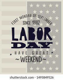 Lettering Happy Labor Day with USA flag on background. Vector poster or banner of the working day.
