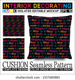 Lettering Happy New Year colorful on black background. Cushion mockup & seamless pattern to celebrate the new year 2020. CMYK color space ready to print. This pattern can also used for other.