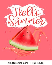 lettering hello summer. Watermelon vector print