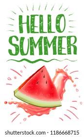 lettering hello summer. Watermelon vector print