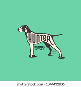 Lettering Hunter on pointer dog for logo, label, badge, emblem design. Vector illustration.