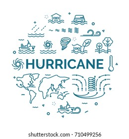 lettering of hurricane concept with line icons set.