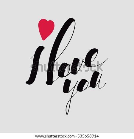 lettering i love you calligraphic font hand drawing individual font declaration