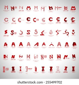 Lettering Icons Set - Isolated On Gray Background - Vector Illustration, Graphic Design, Editable For Your Design