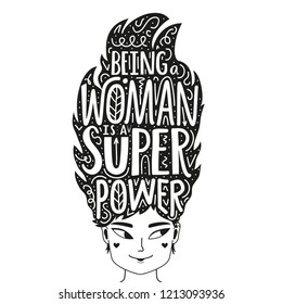 Lettering illustration with long hair woman and motivational quote - Being woman is a super power. Doodle style typography inspirational poster