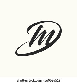 Lettering initial letter d and m linked vector monogram logo template