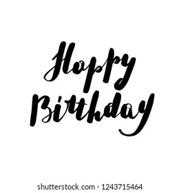 Lettering inscription happy bithday. Vector illustration isolated on white background.