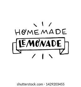Lettering inscription Homemade Lemonade. Black and white hand drawn text about cooling drink cooked at home. Typographic phrase with ade rhyme. Ribbon decorated label. Sticker for bottle, mason jar