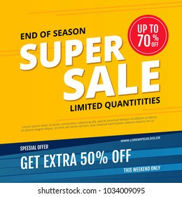 Lettering inspiration sale. Handwritten text, isolated on a yellow background. End of season. Vector illustration.