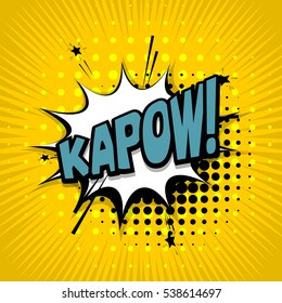 Lettering kapow. Comic text sound effects. Vector bubble icon speech phrase, cartoon exclusive font label tag expression, sounds illustration. Comics book balloon
