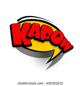 Lettering KAPOW. Comics book text balloon. Bubble icon speech phrase. Cartoon font label tag expression. Sounds vector effect halftone illustration.