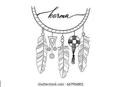 Lettering karma dream catcher hand drawn dream cather and handwritten text karma, vector