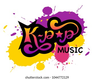 Lettering: K-pop music - korean pop music style, Hand sketched card K-pop music. Hand drawn K-pop music lettering sign. Banner, postcard, poster, stickers, tag.Vector illustration