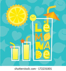 Lettering Lemonade with glasses of lemonade and sunny lemon with clouds like a mint leaves.