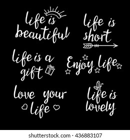 Lettering Life Quotes Calligraphy Inspirational Quote Stock Vector